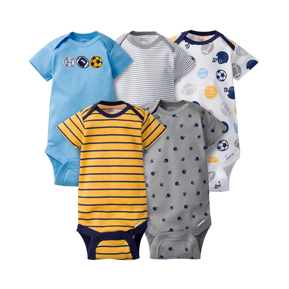 Gerber Boys 5-pk Onesies set, Yellow / Sports