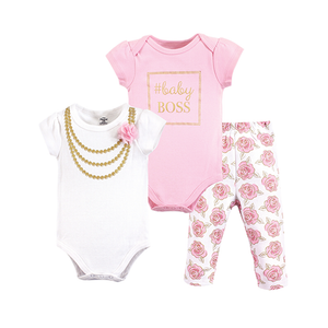 Little Treasure Girls 3-pc Bodysuit & Long Pant set, Baby Boss