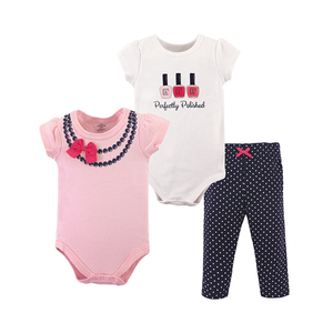 Little Treasure Girls 3-pc Bodysuit & Long Pant set, Perfectly Polished