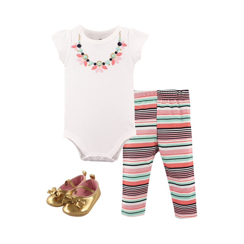Little Treasure Girls 3-pc Bodysuit, Pant and Shoes set, Pink/ Mint/ Gold