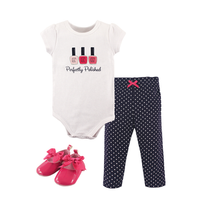 Little Treasure Girls 3-pc Bodysuit, Pant & Shoe set, Perfectly Polished