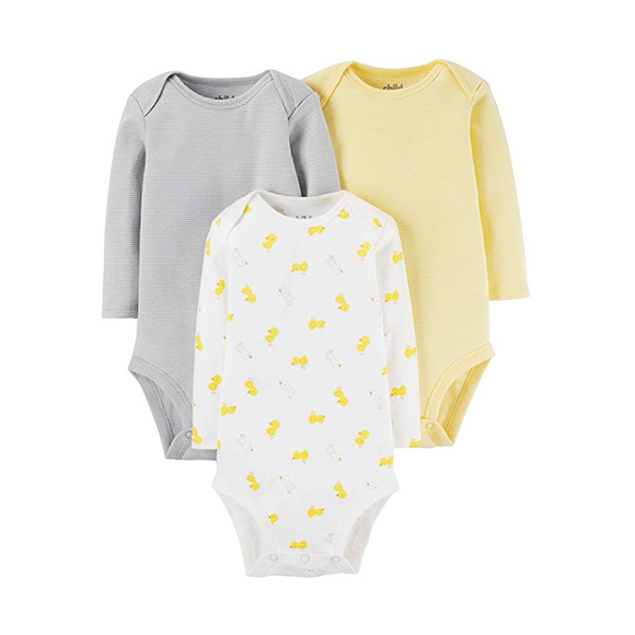Carter's Unisex 3-pk Long Sleeve Bodysuit set - Ducks