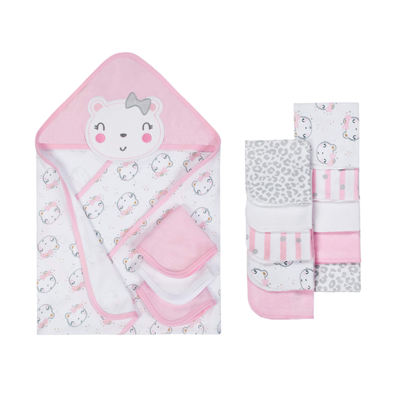 Gerber Terry Hooded Towels & Washcloths Bath Set, 14-piece - Kitty