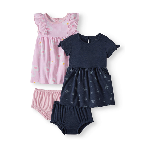 Wonder Nation Girls 2-pk Knit Dresses, Flamingo / Navy Stars