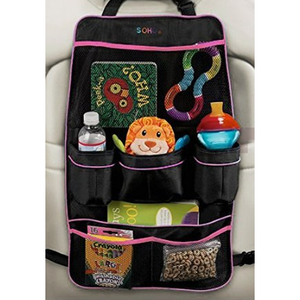 SoHo Car Backseat Organizer, Black/Pink