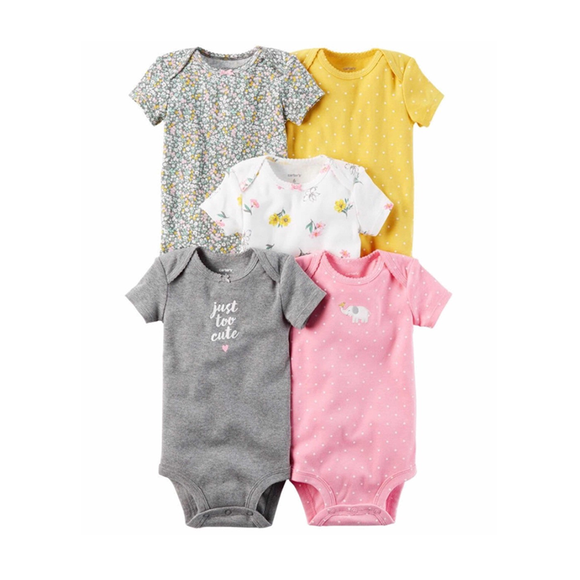 Carter's Girls 5-pk Bodysuit set, Yellow/ Pink/ Floral