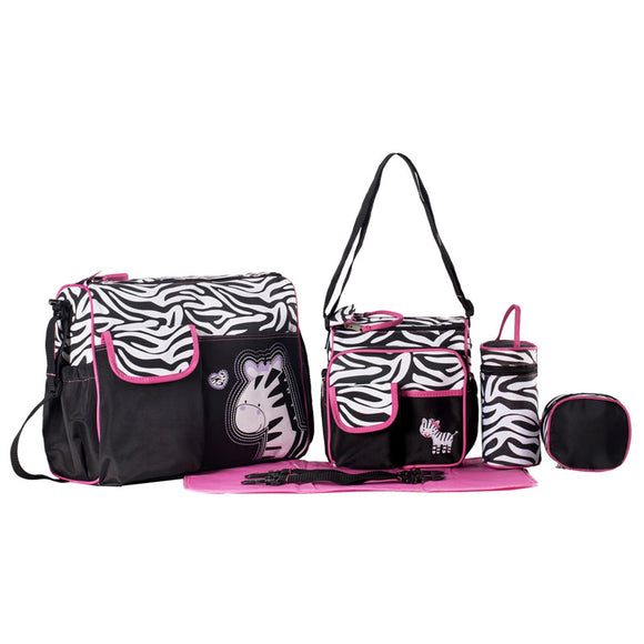 SoHo Collections 6-Piece Zebra Tote Diaper Bag Set