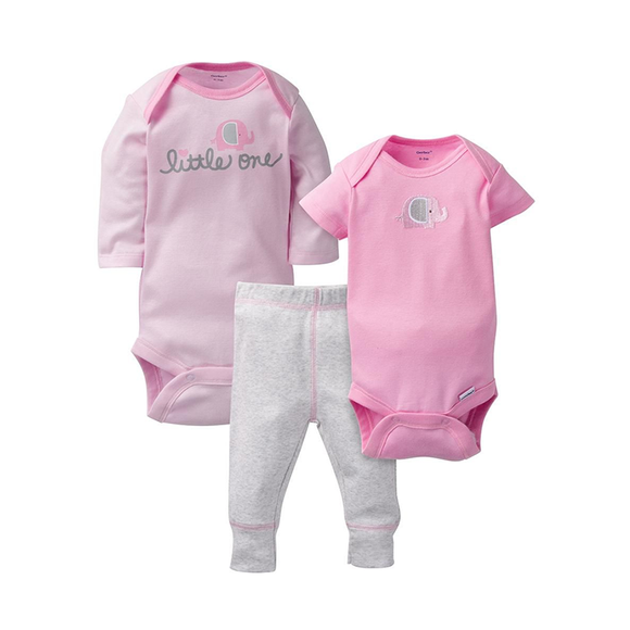 Gerber Girls 3-pc Bodysuit & Pant set, Elephant