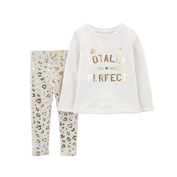 Carter's Girls 2-pc Sweater Top & Leggings set, Gold / Kitty