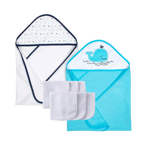 Gerber Boys Hooded Towel & Washcloth set, Whale
