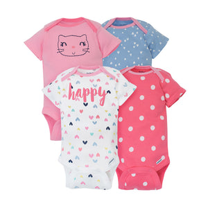 Gerber Girls 4-pk Onesies set, Happy