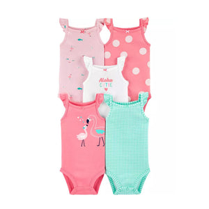Carter's Girls 5-pk Flutter Sleeve Bodysuit set, Flamingo