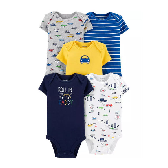 Carter's Boys 5-pk Bodysuit set, Rolling With Daddy