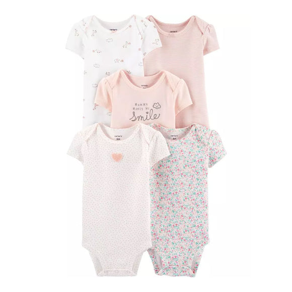 Carter's Girls 5-pk Bodysuit set, Mommy Smile