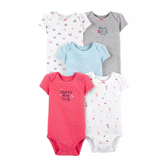 Carter's Girls 5-pk Bodysuit set, Queen of My Crib
