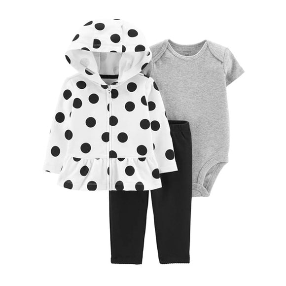 Carter's Girls 3-pc Hooded Jacket, Bodysuit & Pant set, B&W/ Polka Dots