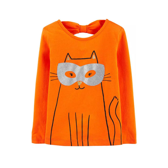 Carter's Girls T-shirt, Orange/Cat