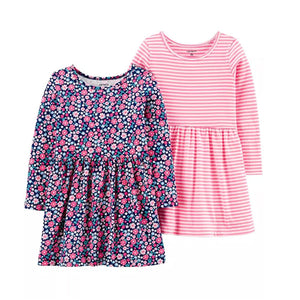 Carter's Girls 2-pk  Long Sleeve Dress set, Floral/ Stripes