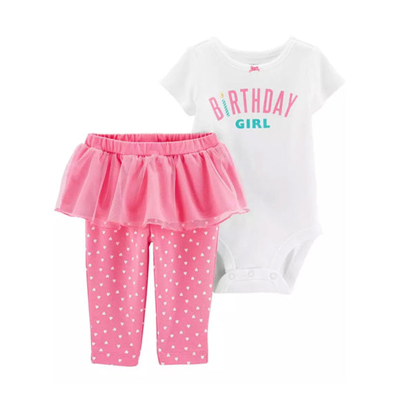 Carter's Girls 2-pc Novelty Birthday set, Pink/ White