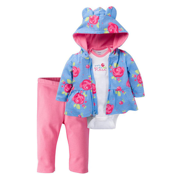 Gerber Girls 3-pc Hooded Jacket, Onesie & Pant set, Roses
