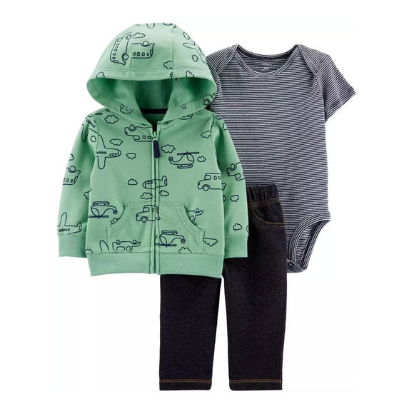Carter's Boys 3-pc Hooded Jacket, Bodysuit & Jean set, Aeroplanes