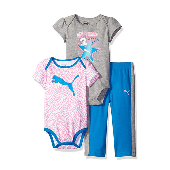 Puma Girls 3-pc Bodysuit & Pant set, Blue/Pink