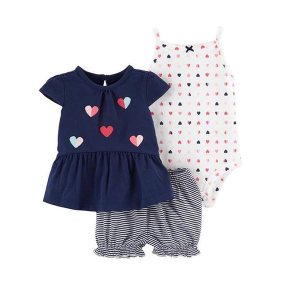 Carter's Girls 3-pc Flutter Sleeve Top, Bodysuit & Bubble Pant set, Hearts