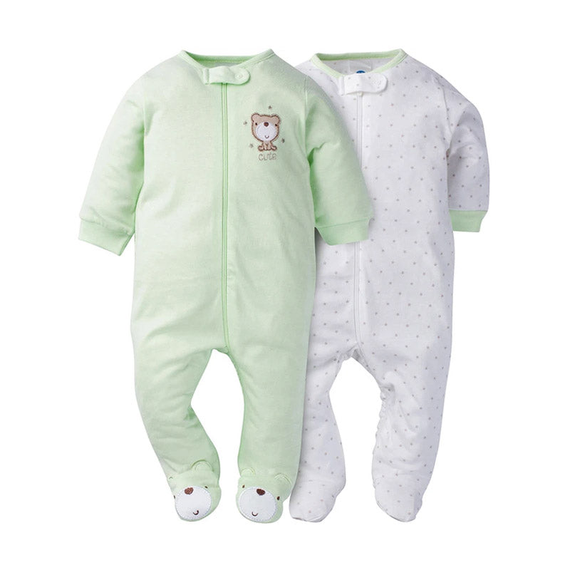 Gerber Unisex 2-pk Sleep & Play set, Green/Bears