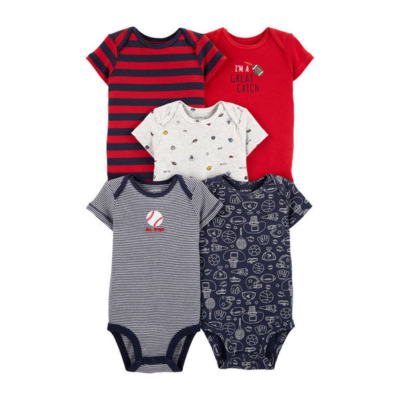 Carter's Boys 5-pk Bodysuit set, Sports/ Navy/ Red