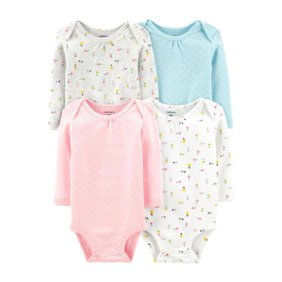 Carter's Girls 4-pk Long Sleeve Bodysuit set, Floral