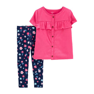 Carter's Girls 2-pc Top & Leggings, Pink / Floral Navy