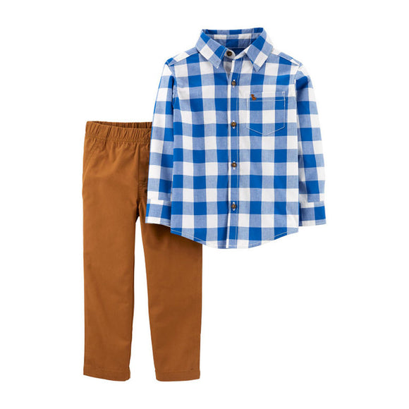 Carter's Boys 2-pc Long Sleeve Shirt & Pant set, Blue Plaid