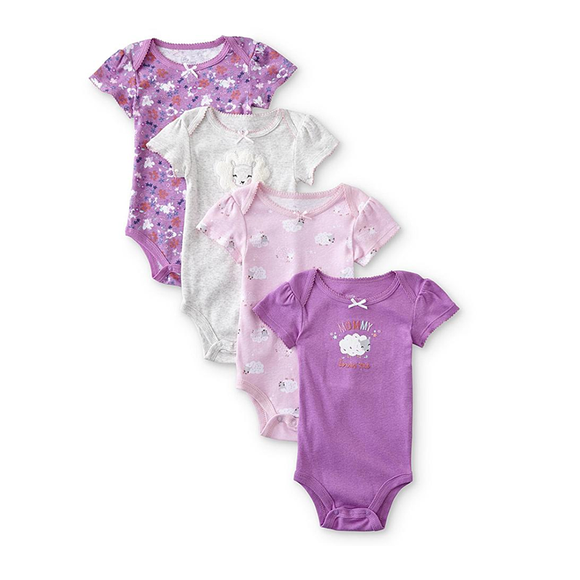 Little Wonders Girls 4-pk Bodysuit set, Lambs