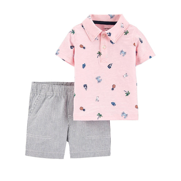 Carter's Boys 2-pc Shirt & Shorts set, Pink/ Tropical