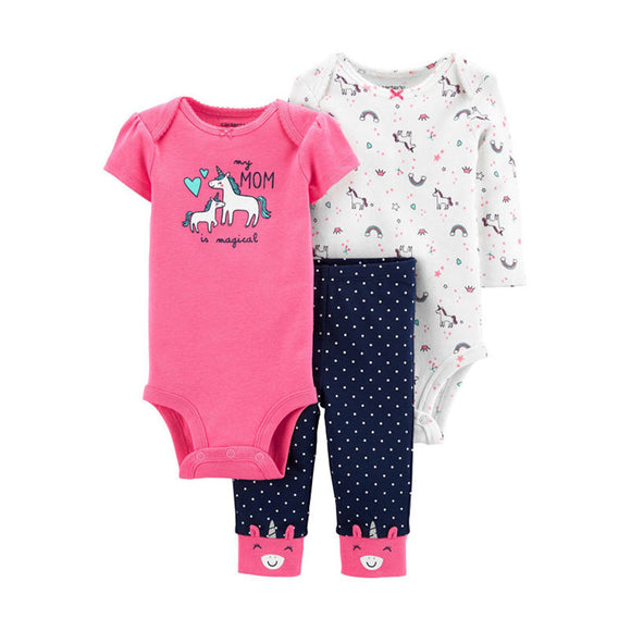 Carter's Girls 3-pc Bodysuit & Pant set, Unicorns