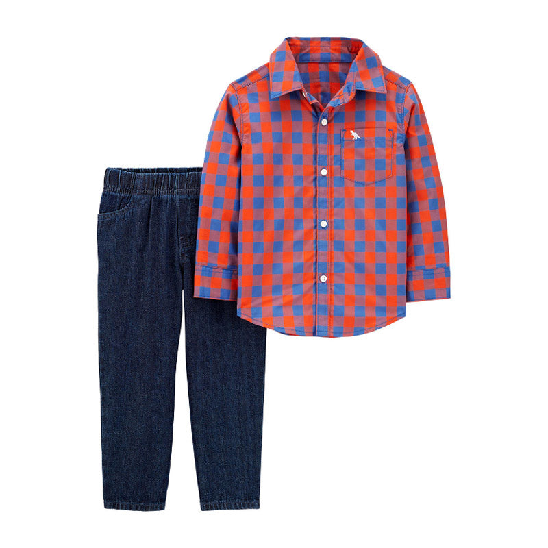Carter's Boys 2-pc Bodysuit, Shirt & Pant Set, Red/Blue Plaid