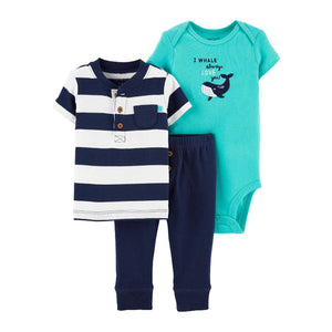 Carter's Boys 3-pc Bodysuit, T-shirt & Pant Set, Whale