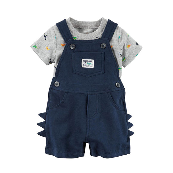 Carter's 2-pc Jumper Shorts & T-shirt set, Navy/ Dino