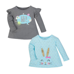 Gerber Girls 2-pk Long Sleeve T-shirt set, Grey/ Blue