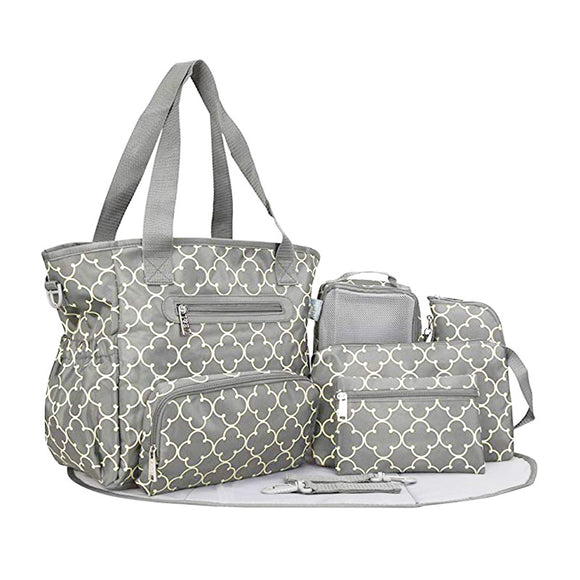 SoHo Collections 7-pc Grand Central Tote Diaper Bag Set, Gray Charlotte