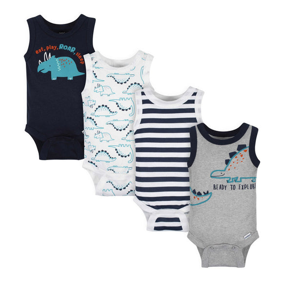 Gerber Boys 4-pk Sleeveless Onesies set, Dino