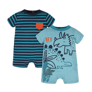 Gerber Boys 2-pk Romper set, Dino/ Stripes