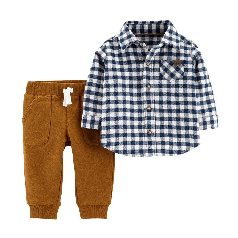 Carter's Boys 2-pc Long Sleeve Shirt & Joggers set, Navy/ Plaid