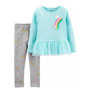 Carter's Girls 2-Pc Peplum Top & Legging Set, Rainbow