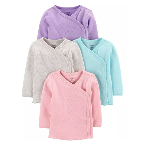 Carter's Girls 4-Pk Side-Snap Tees, Assorted Colors