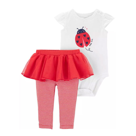 Carter's Girls 2-Pc Bodysuit & Tutu Pant Set, Ladybug