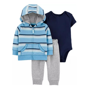 Carter's Boys 3-Pc Hooded Jacket, Bodysuit & Pant Set, Blue/ Stripes