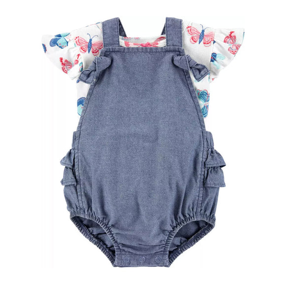 Carter's Girls 2-Pc Sunsuit Coverall Set, Denim