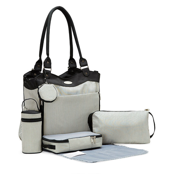 SoHo Collections 9-Pc Louvre Tote Diaper Bag, Black & White / Pinstripe