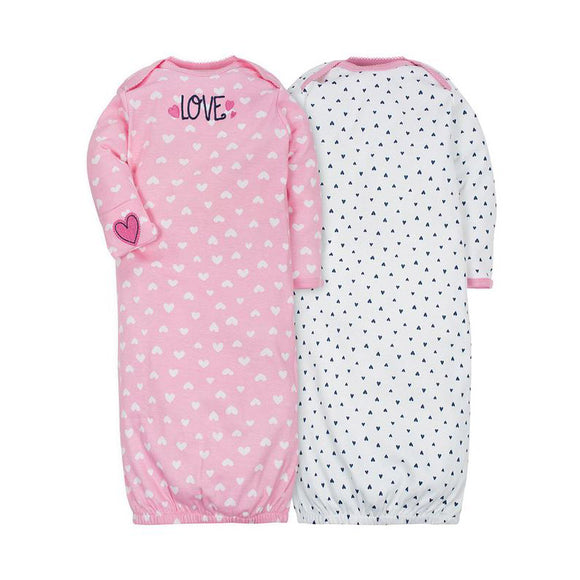 Gerber Girls 2-pk Sleeping Gowns, Hearts